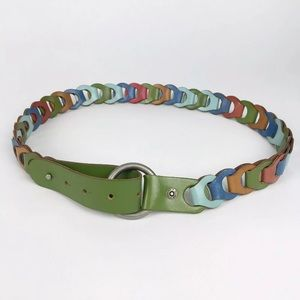 Fossil Leather Multi Color Rainbow Chain Belt